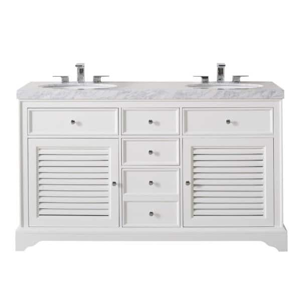Stufurhome Magnolia 60 In Bath Vanity In White With White Marble Vanity Top In White With White Basin Ty 899 60 Cr The Home Depot