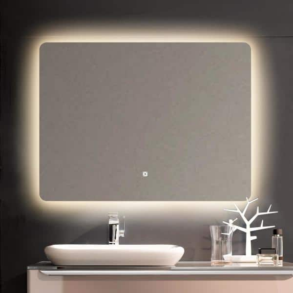 Toolkiss 32 In W X 24 H Modern, Home Depot Bathroom Mirror With Lights