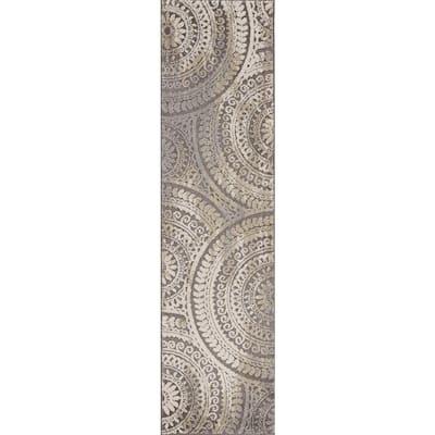 Spiral Medallion Gray 2 ft. x 7 ft. Geometric Runner Rug