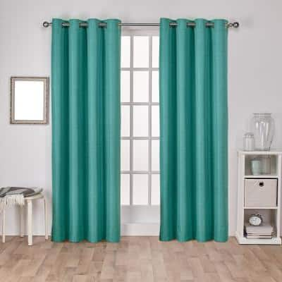 Teal Faux Silk Thermal Blackout Curtain - 54 in. W x 108 in. L (Set of 2)