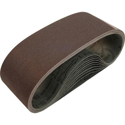 3 in. x 21 in. 80-Grit Abrasive Belt (10-Pack)
