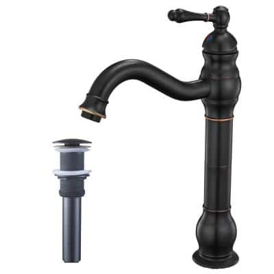 Waterfall Single Hole Single-Handle Vessel Bathroom Faucet With Pop-up Drain Assembly in Oil Rubbed Bronze