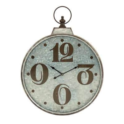 Wood Textured Numbers Framed in a Round Rustic Metal clock