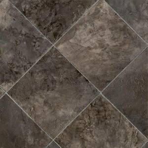 Marina Grey Tile Stone Residential Vinyl Sheet Flooring 13.2ft. Wide x Cut to Length