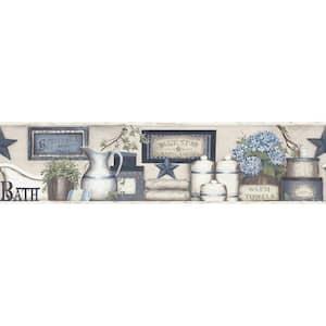 Country Bath Blue Rustic Blue Wallpaper Border