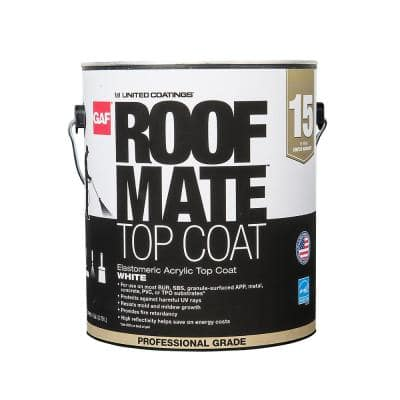 Roof Mate Top Coat 1 Gal. White Acrylic Reflective Elastomeric Roof Coating (15-Year Limited Warranty)