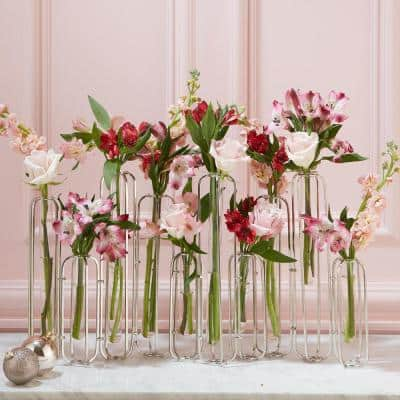 28 in. Wide Lavoisier Gold Stainless Steel/Glass Hinged Flower Vases (Set of 10)