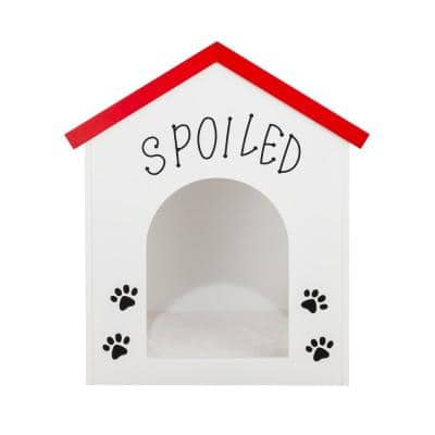 Paw Design MDF White Dog House with Spoiled Sign -Small Medium