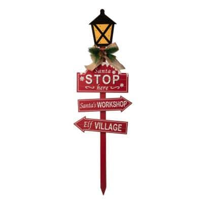 42 in. H Wooden Christmas Yard Stake with LED