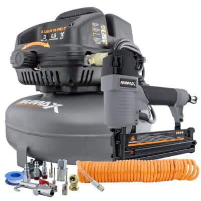 3 Gal. Portable Electric Pancake Air Compressor with 2-in-1 Nailer/Stapler, Hose Inflation Kit and Fasteners (400-Count)