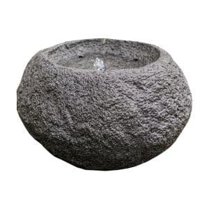 11.6 in. Tall Grey Round Sphere Stone Textured Tabletop Waterfall Fountain
