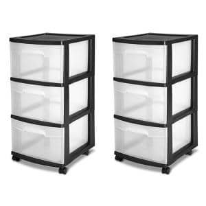 3-Drawer Storage Cart, Clear with Black Frame (2-Pack)