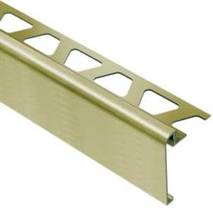 Rondec-Step Brushed Brass Anodized Aluminum 3/8 in. x 8 ft. 2-1/2 in. Metal Tile Edging Trim