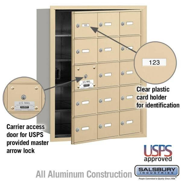 Salsbury Industries Sandstone Usps Access Front Loading 4b Plus Horizontal Mailbox With 15a Doors 14 Usable 3615sfu The Home Depot
