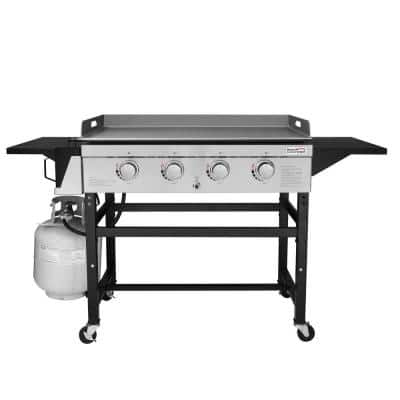 4-Burner Propane Gas Grill Griddle in Steel with Fixed Side Tables