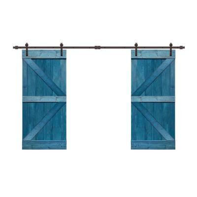 72 in. x 84 in. K Series Ocean Blue Stained Solid Knotty Pine Wood Interior Double Sliding Barn Door with Hardware Kit