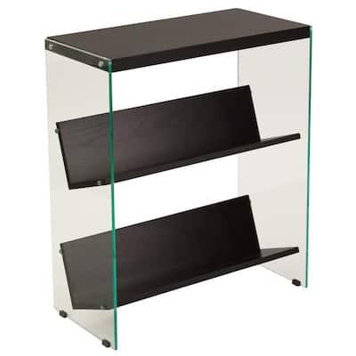 28 in. Dark Ash Glass 3-shelf Standard Bookcase with Open Back