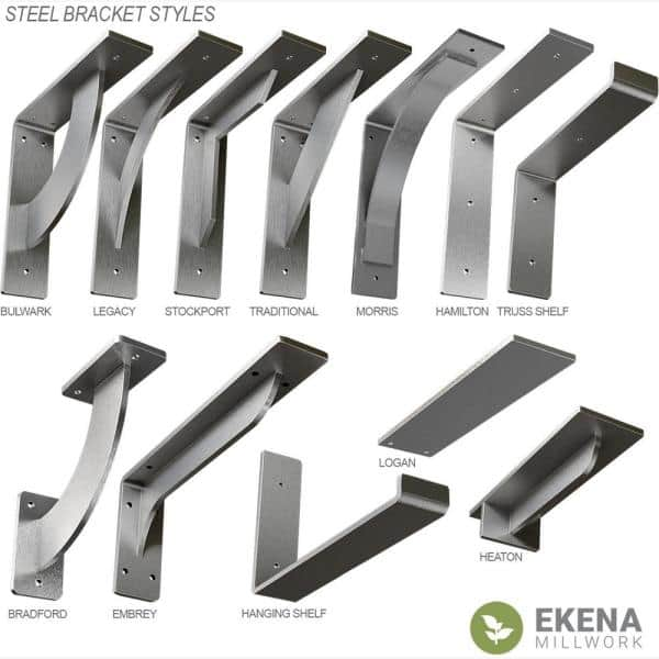 Ekena Millwork 8 In X 2 In X 8 In Stainless Steel Unfinished Metal Hamilton Bracket Bktm02x08x08hass The Home Depot
