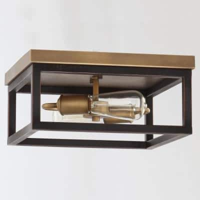 Boswell Quarter 12-1/2 in. 2-Light Vintage Brass Farmhouse Flush Mount with Painted Black Distressed Wood Accents