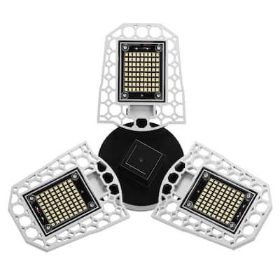 11.81 in. 3-Light 600-Watt Equivalent Deformable LED Adjustable Garage Light, 7200LM, 6000K Daylight White