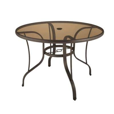 42 in. Mix and Match Steel Round Outdoor Patio Dining Table with Painted Glass