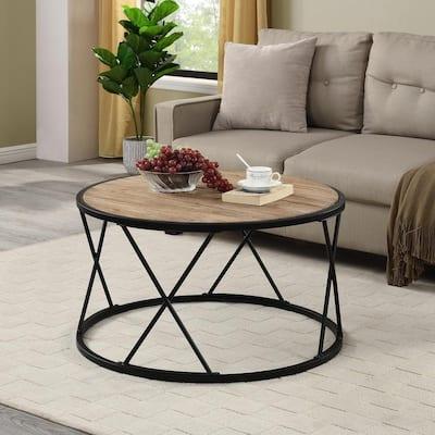 Bristol 32 in. Black Medium Round Wood Coffee Table