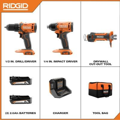 18V Cordless 3-Tool Combo Kit with Drill/Driver, Impact Driver, Drywall Cut-Out Tool, Batteries, Charger, and Bag