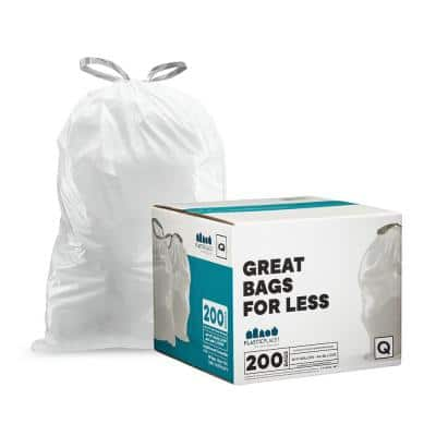 25.25 in. x 32.75 in.13-17 Gallon l White Drawstring Garbage Liners Simplehuman Code Q-Compatible (200-Count)