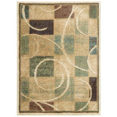 Expressions Beige 2 ft. x 3 ft. Geometric Contemporary Area Rug