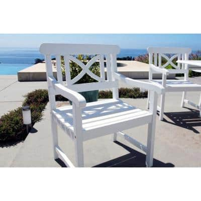 Bradley Acacia Patterned Back White Patio Armchair