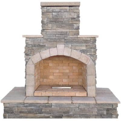 78 in. Stone Veneer Propane Gas Outdoor Fireplace