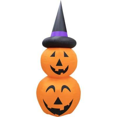 Haunted Hill Farm 10 Ft Stacked Pumpkin Duo Halloween Inflatable With Lights Hhfinpump010 1l The Home Depot