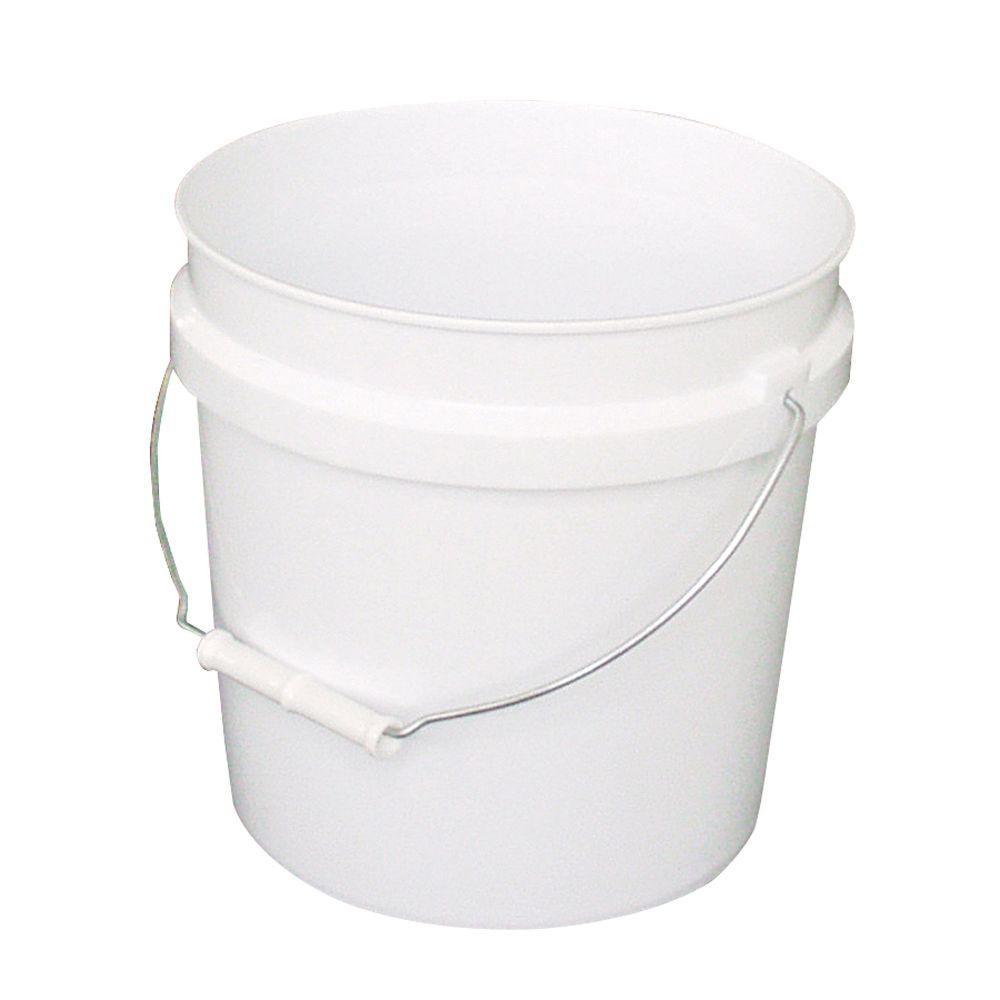 2-Gal. White Plastic Bucket (Pack of 3)