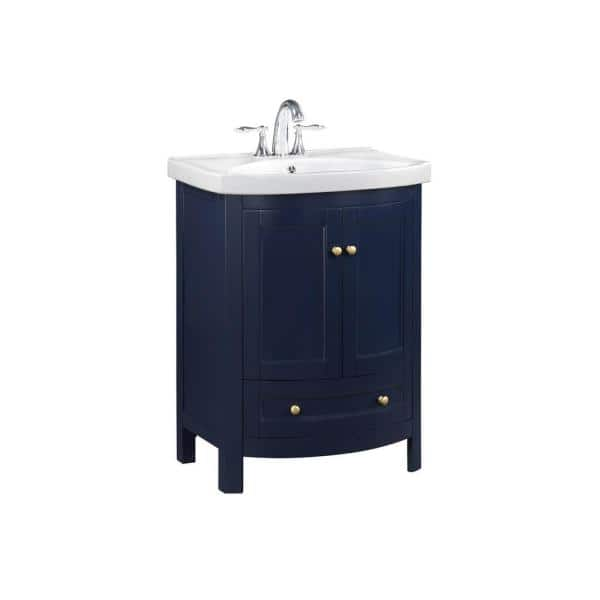 Runfine 24 In W X 19 In D X 34 In H Dark Blue Bathroom Vanity With Vitreous China Top And Basin In White Rfva0069b The Home Depot