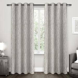Dove Grey Floral Thermal Blackout Curtain - 52 in. W x 84 in. L (Set of 2)