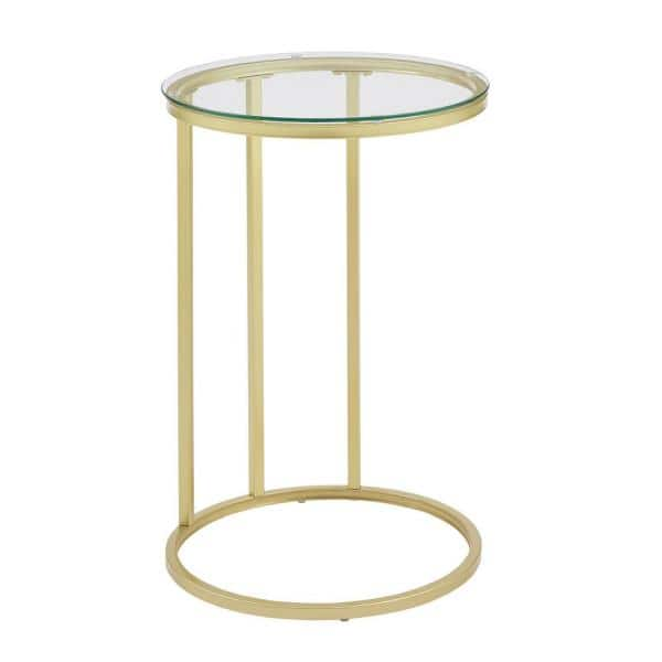 Glass Gold Round C Table, Round C Table