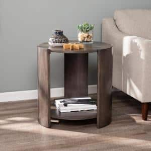 Rallen Distressed Gray Washed Brown Round Contemporary End Table
