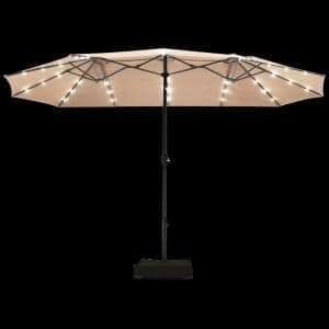 15 ft. Steel Market Solar Patio Umbrella in Beige with LED Lights and Base Stand
