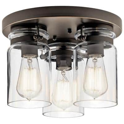 Brinley 11.75 in. 3-Light Olde Bronze Flush Mount Ceiling Light with Clear Glass