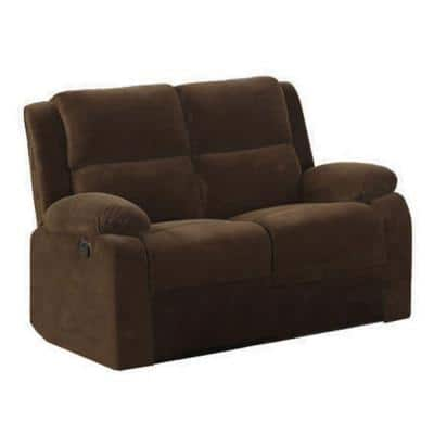 Haven 59 in. Dark Brown Microfiber 2-Seater Reclining Loveseat with Flared Arms