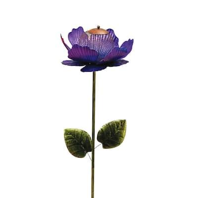 46 in. H Purple Metal Mesh Bird Seed Feeder Flower