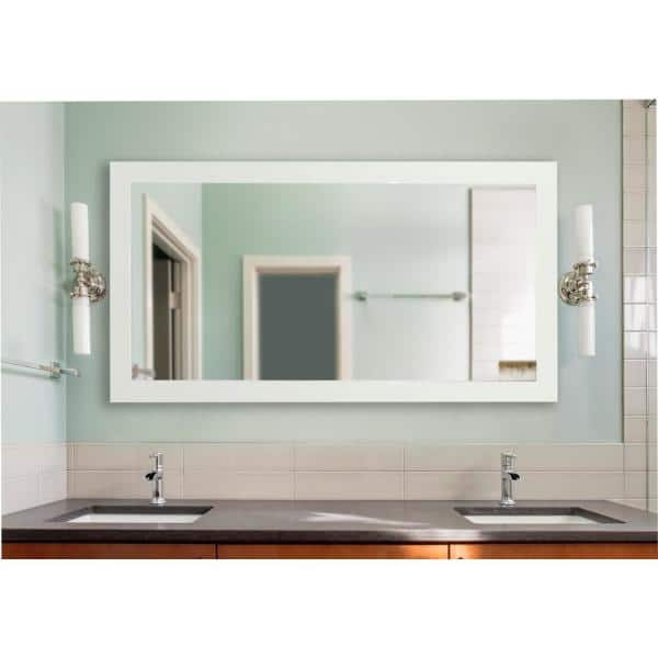 34 In W X 73 In H Framed Rectangular Bathroom Vanity Mirror In White Dv087xl The Home Depot