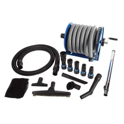 Stainless Steel Hose Reel and Mounted 30 Ft. Dust Collection Hose with Multi-Brand Power Tool Adapters for Wet/Dry Vacs