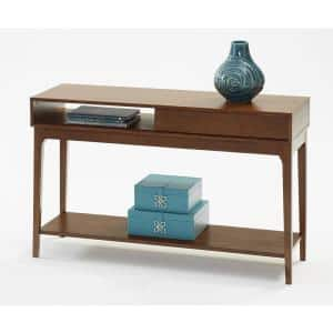 Progressive Furniture Regent 48 In Cherry Half Moon Wood Console Table With Drawers T434 05 The Home Depot