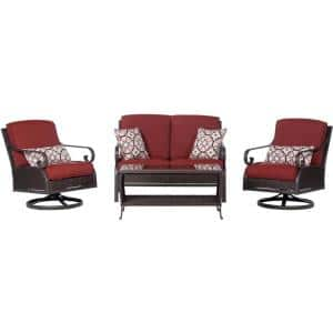 Madrid 4-Piece Wicker Patio Conversation Set with Red Cushions