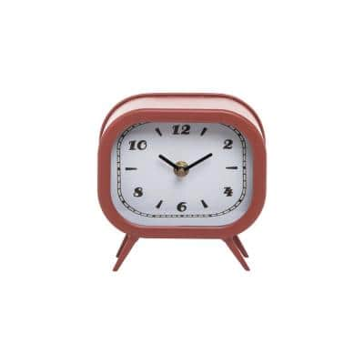 Red Metal Battery Operated Table Clock