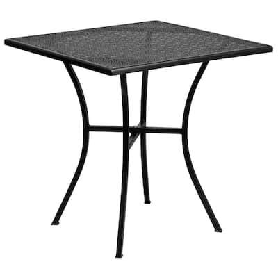 Black Square Metal Outdoor Bistro Table