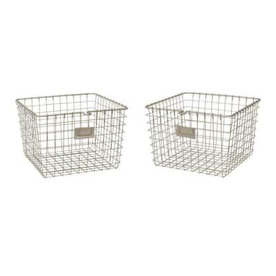 13.75 in. D x 11.25 in. W x 8 in. H Satin Nickel Medium Steel Wire Storage Bin Basket Organizer (2-Pack)