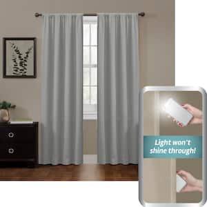 Grey Geometric Thermal 50 in. W x 84 in. L Rod Pocket 100% Blackout Curtain