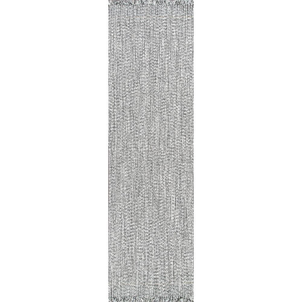 Nuloom Courtney Braided Black And White 3 Ft X 12 Ft Indoor Outdoor Runner Hjfv11a 26012 The Home Depot